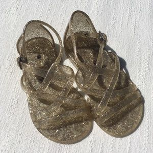 Old Navy Gold Glitter Jelly Sandals Size 6